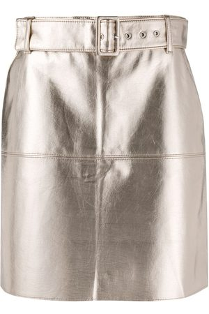 Msgm Belted metallic mini skirt