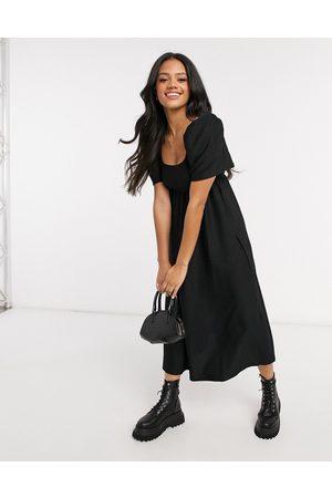 ASOS Textured midi scoop neck smock dress in