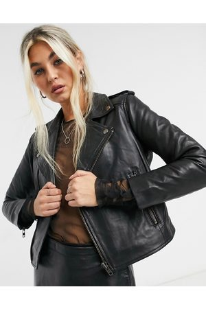 Muubaa Cropped leather biker jacket in