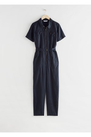 & OTHER STORIES Fitted Belted Short Sleeve Jumpsuit