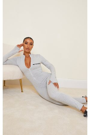 PRETTYLITTLETHING PRETTYLITTETHING Grey Marl Black Embroidered Zip Front Jumpsuit