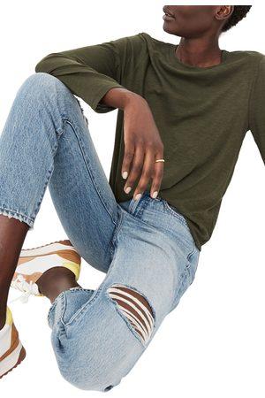 Madewell Women's Whisper Cotton Rib Crewneck Long Sleeve T-Shirt