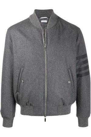 Thom Browne Men Bomber Jackets - Tonal 4-Bar flannel bomber jacket - Grey