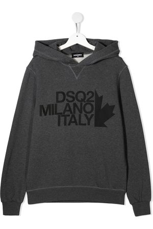 Dsquared2 Logo print cotton hoodie - Grey