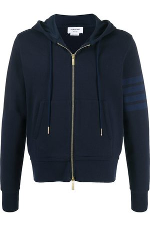 Thom Browne Loopback relaxed zip 4-Bar hoodie