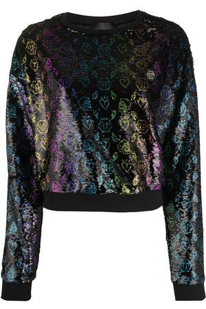 Philipp Plein Women Hoodies - Monogram sequin sweatshirt
