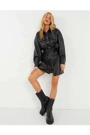 ASOS Women Casual Dresses - Leather-look button-through belted mini shirt dress in