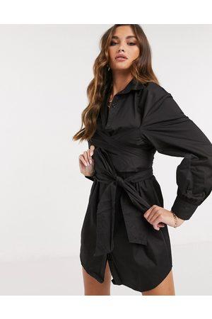 Saint Genies Wrap tie detail long sleeve shirt dress in