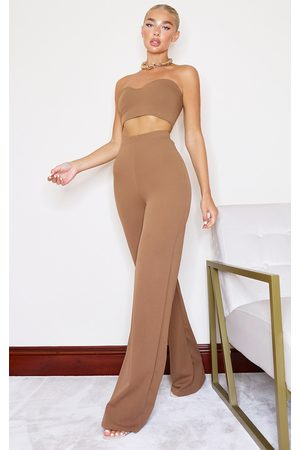 PRETTYLITTLETHING Camel Crepe High Waisted Wide Leg Pants