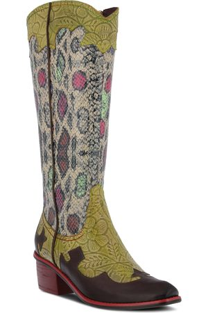 L'ARTISTE Women's Rodeo Western Pointed Toe Mid Calf Boot