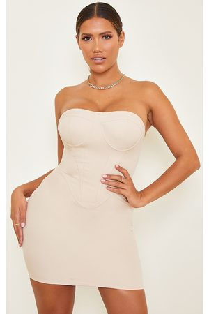 PRETTYLITTLETHING Shape Nude Corset Detail Bodycon Dress