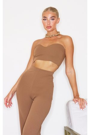PRETTYLITTLETHING Camel Sweetheart Bandeau Crop Top