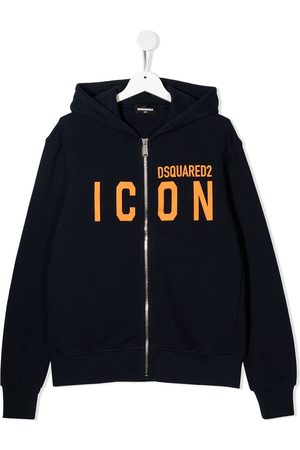 Dsquared2 Logo print cotton zip-front hoodie