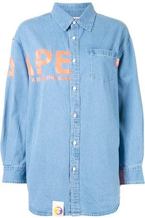 AAPE BY *A BATHING APE® Logo-print button-up denim shirt