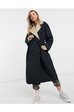 ASOS Contrast trench coat in stone and