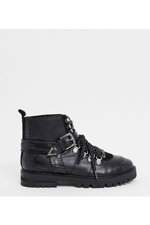 ASRA Exclusive Benji chunky flat hiker boots in leather mix