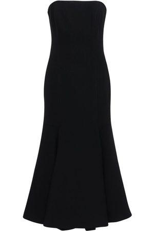 VALENTINO Double Wool Crepe Bustier Midi Dress