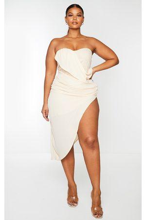 PRETTYLITTLETHING Women Bodycon Dresses - Plus Nude Cup Detail Chiffon Drape Bodycon Dress
