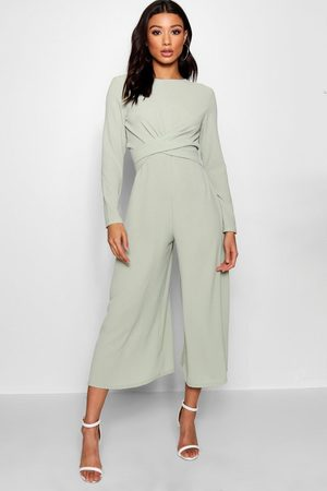 Boohoo Womens Knot Front Woven Culotte Jumpsuit - - 2