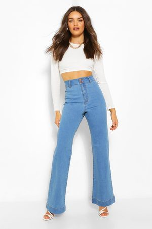 Boohoo Womens Basic Fitted Denim Flared Jean - - 2