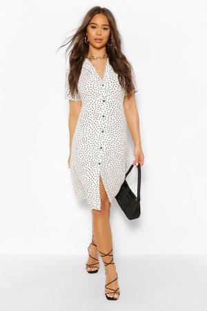 Boohoo Womens Polka Dot Shirt Style Midi Dress - - 4