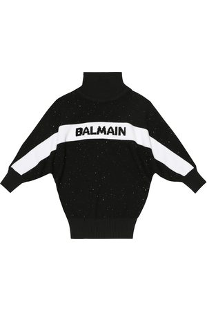Balmain Logo sequined wool-blend sweater
