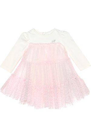MONNALISA Baby velvet leopard-print tulle dress