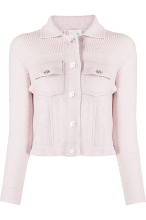 Barrie Ribbed panel knitted jacket