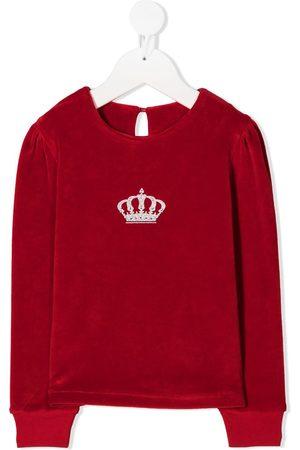 Lapin House Crown-print velvet sweatshirt