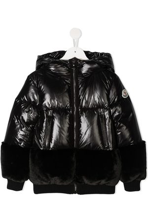 Moncler Girls Puffer Jackets - Faux fur-trimmed puffer jacket
