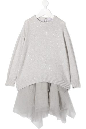 Brunello Cucinelli Two-piece tulle jumper dress - Grey