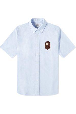 AAPE BY A BATHING APE Short Sleeve Large Ape Head Oxford Shirt