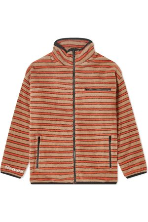 Pleasures Men Fleece Jackets - Caterpillar Stripe Fleece Jacket