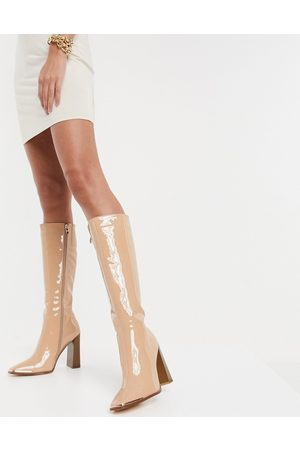 SIMMI Shoes Simmi London Melisa knee boots with metal plating in patent