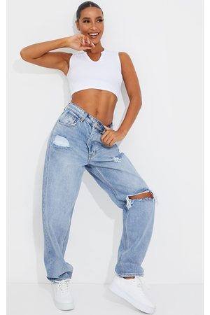PRETTYLITTLETHING Light Wash Open Knee Boyfriend Jeans
