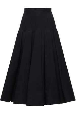 VALENTINO Pleated Cotton & Silk Midi Skirt