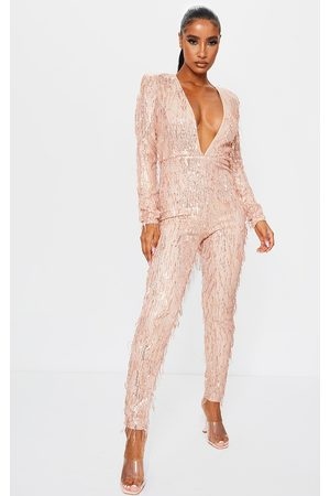 PRETTYLITTLETHING Women Jumpsuits - Rose Premium Tassel Sequin Plunge Wide Leg Jumpsuit