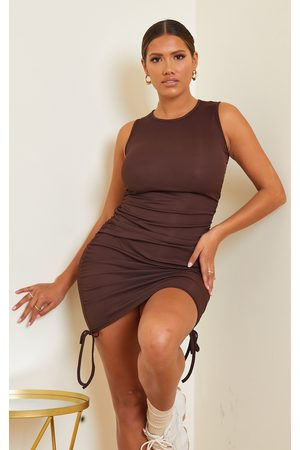 PRETTYLITTLETHING Women Bodycon Dresses - Shape Chocolate Rib Ruched Side Sleeveless Bodycon Dress