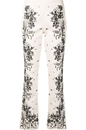 Giambattista Valli Floral-embroidery flared trousers - Neutrals