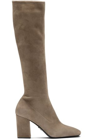 Prada Square-toe pull-on boots - Neutrals