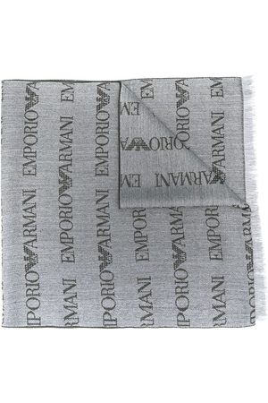 Emporio Armani Logo embroidered scarf - Grey