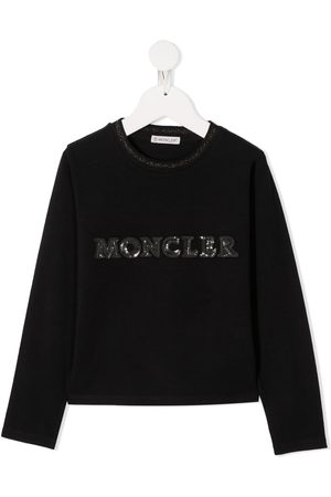 Moncler Girls Hoodies - Sequin-embellished logo sweatshirt