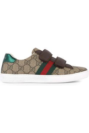 Gucci Junior monogram velcro sneakers - Bande web
