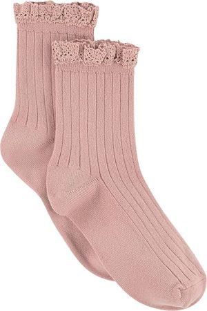 Collegien Socks - Kids - Pair of rib knit ankle socks with lace Lili - Unisex - 21/23 (UK 4.5/6 - US 5.5/7) - - Socks