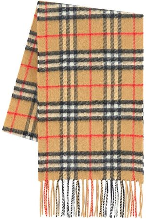 Burberry Kids - Check cashmere scarf - Vintage check - Unisex - ONE SIZE - - Knitted scarves