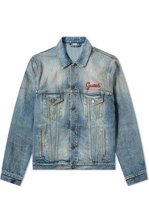 Gucci Men Denim Jackets - Cat Logo Embroidered Denim Jacket