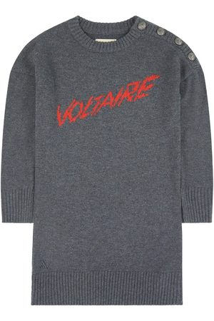 Zadig & Voltaire Kids Sale - Wool and cashmere sweater dress - Girl - 12 Years - Grey - Casual dresses