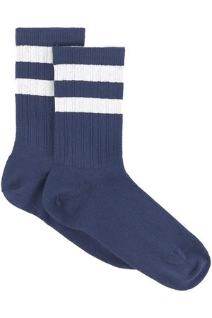 Collegien Pair rib knit socks with sport stripes Nico