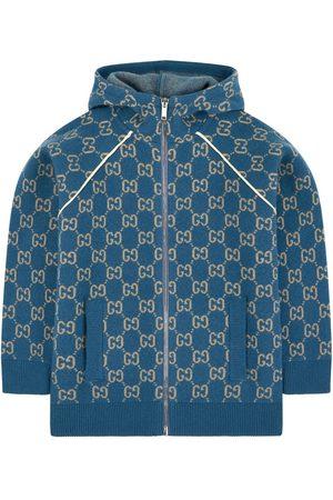 Gucci Boys Hoodies - Kids - Mini Me wool cardigan - GG - Boy - 6 years - - Hoodies