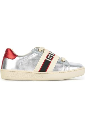 Gucci Metallized leather sneakers Bande